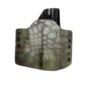 Kydex pouzdro pro Glock 19, pravé, pol. swtg., př. Kryptek-Mandrake, rub černá, RH Holsters
