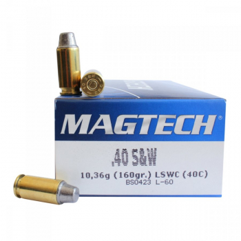 Náboje .40 S&W LSWC (40C), 10,3 g, 160 grs, 50 ks, Magtech