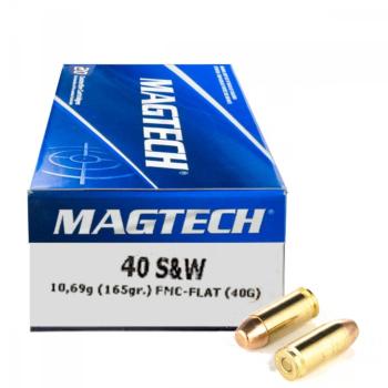 Náboje .40 S&W FMJ FLAT (40G), 10,69 g, 165 grs, 50 ks, Magtech
