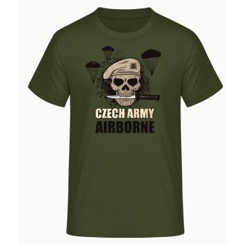 Pánské triko Czech Army Airborne, zelené, Forces Design