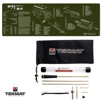 TekMat Combo podložka AR15 zelená ODG + sada čištění AR15