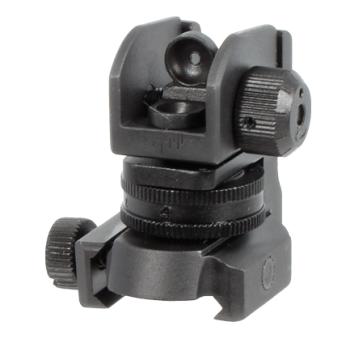 UTG kompaktní stavitelné hledí Mil-Spec, překlopný dioptr, stranová i výšková korekce