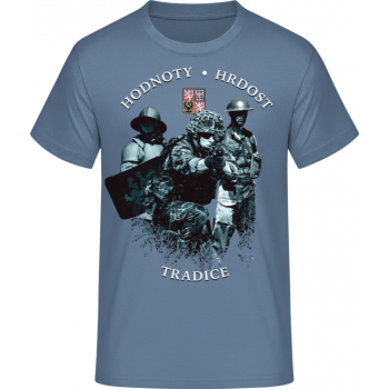 Pánské triko HODNOTY - HRDOST - TRADICE, kamenná modrá, Forces Design