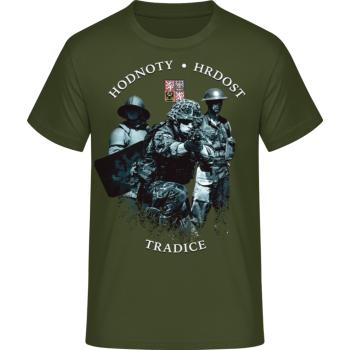 Pánské triko HODNOTY - HRDOST - TRADICE, khaki, Forces Design
