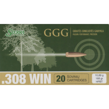 Náboje .308 WIN - střela HPBT 168grn Sierra MatchKing, GGG, 20 ks