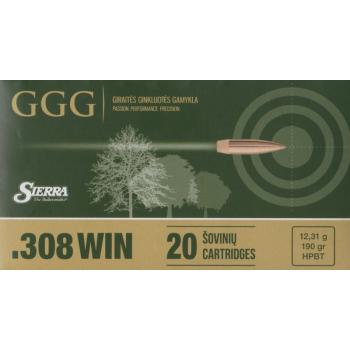 Náboje .308 WIN, střela HPBT 190 grn Sierra MatchKing, 20 ks, GGG