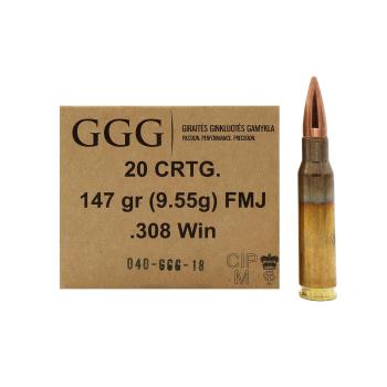 Náboje .308 WIN, střela FMJ, 147 grn, 20 ks, GGG