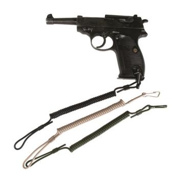 Bezpečnostní popruh na pistoli, spirálový, černý, Mil-Tec