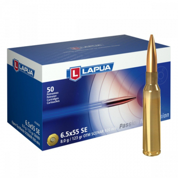 Náboje Lapua 6,5x55 Swedish SCENAR 920 m/s, GB489, OTM, 8,00 g, 123 gr, 50 ks