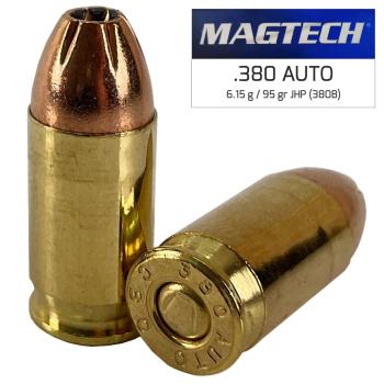Náboje 9 mm Browning - 380 AUTO JHP (380B) 6,15 g 95 grs, 50 ks, Magtech