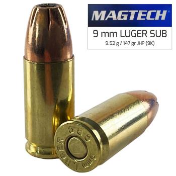 Náboje 9 mm Luger JHP (9K) Subsonic 9,52 g 147 grs, 50 ks, Magtech