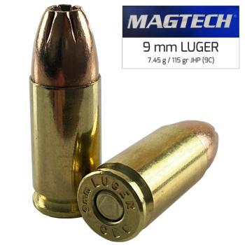 Náboje 9 mm Luger JHP (9C) 7,45 g 115 grs, 50 ks, Magtech