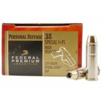 Kulové náboje .38 Spec.+P Premium, Hydra - Shok JHP, 129 grs, 20 ks, Federal