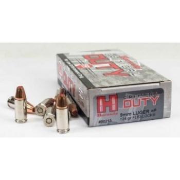 Kulové náboje 9mm Luger+P Critical Duty, 124 grs, Flex Lock Duty, 50 ks, Hornady