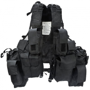 Taktická vesta, 12 kapes, černá, Mil-Tec