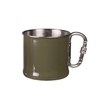Nerezový hrnek s karabinou, 500 ml, olivový, Mil-Tec