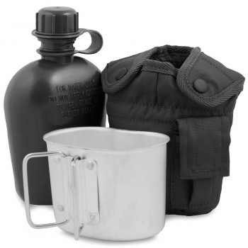 Polní láhev U.S.Army s pouzdrem a pítkem, černá, 1 L, Mil-Tec