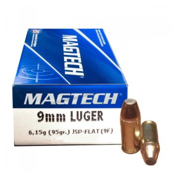 Náboje 9 mm Luger (9x19), JSP FLAT (poloplášť), 95 grs, 50 ks, Magtech
