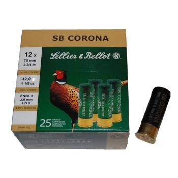 Brokové náboje 12/70 Corona, 3 mm, 32 g, 25 ks, Sellier&Bellot