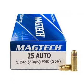 Náboje 6,35 Browning /.25 Auto, 50 ks, Magtech