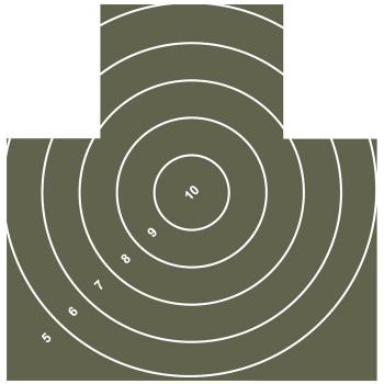 Terč Nekrytě ležící figura s kruhy, 10 ks