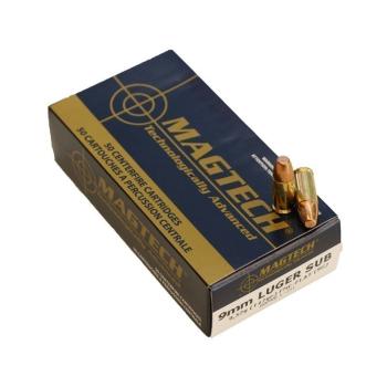 Náboje 9 mm Luger (9x19), FMJ FLAT, Subsonic, 147 grs, 50 ks, Magtech