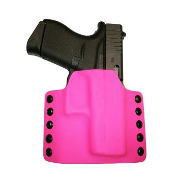 Kydex pouzdro RH Holsters, Glock 43, pravé, plný swtg., růžová / fosforová