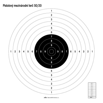 Mezinárodní pistolový terč, 10 ks