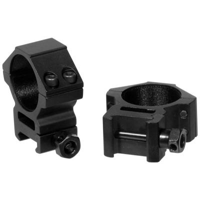 Montážní picatinny kroužky 30 mm, 2 ks, medium, Accushot, černé, UTG