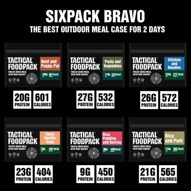 Set 6x MRE dehydrovaného jídla - Tactical Six Pack Bravo, Tactical Foodpack - Set 6x MRE dehydrovaného jídla - Tactical Six Pack Bravo, Tactical Foodpack
