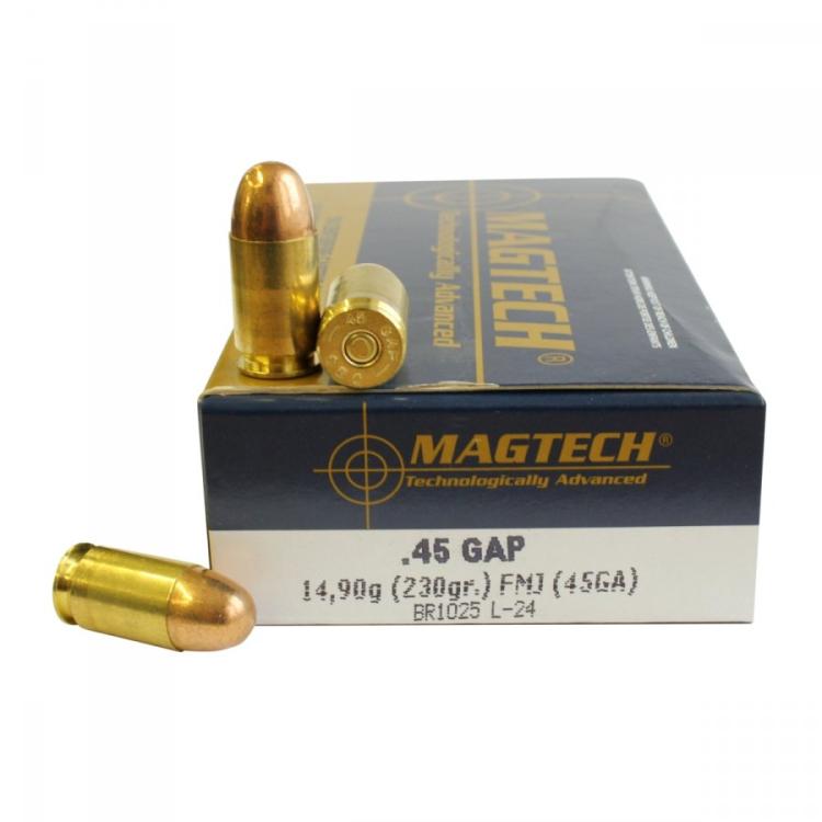 Náboje .45 GAP FMJ (45GAP), 14,90 g, 230 grs, 50 ks, Magtech
