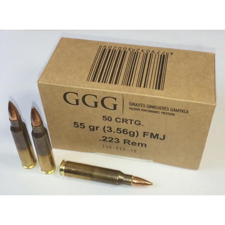 Náboje .223 REM - FMJ 55 grn, 50 ks, GGG