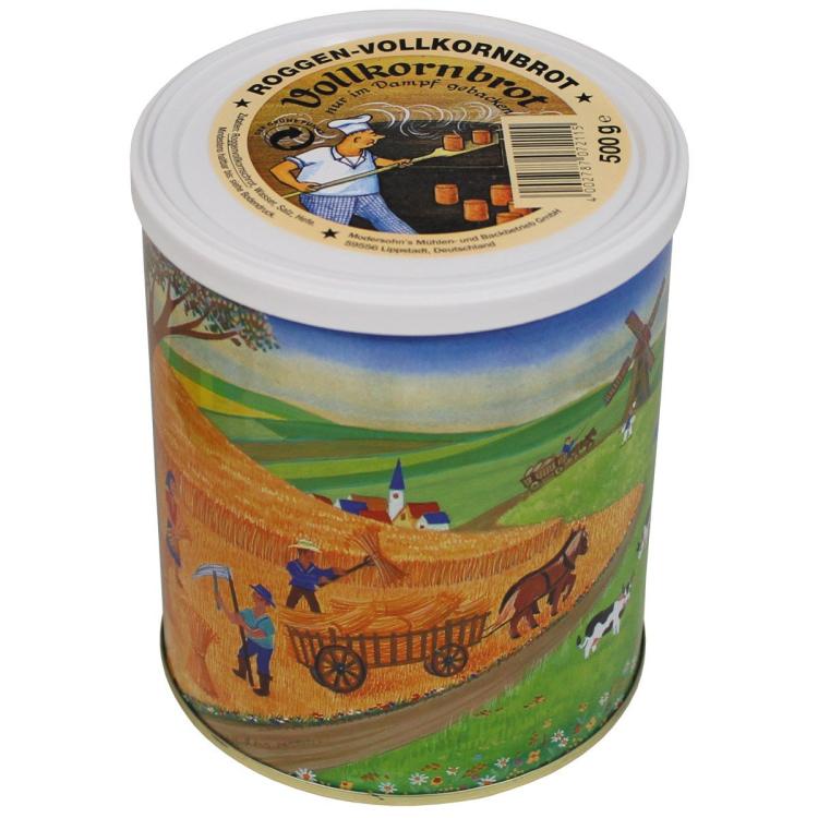 Trvanlivý celozrnný žitný chléb v plechovce, 500 g, Arpol - Trvanlivý celozrnný žitný chléb v plechovce, 500g