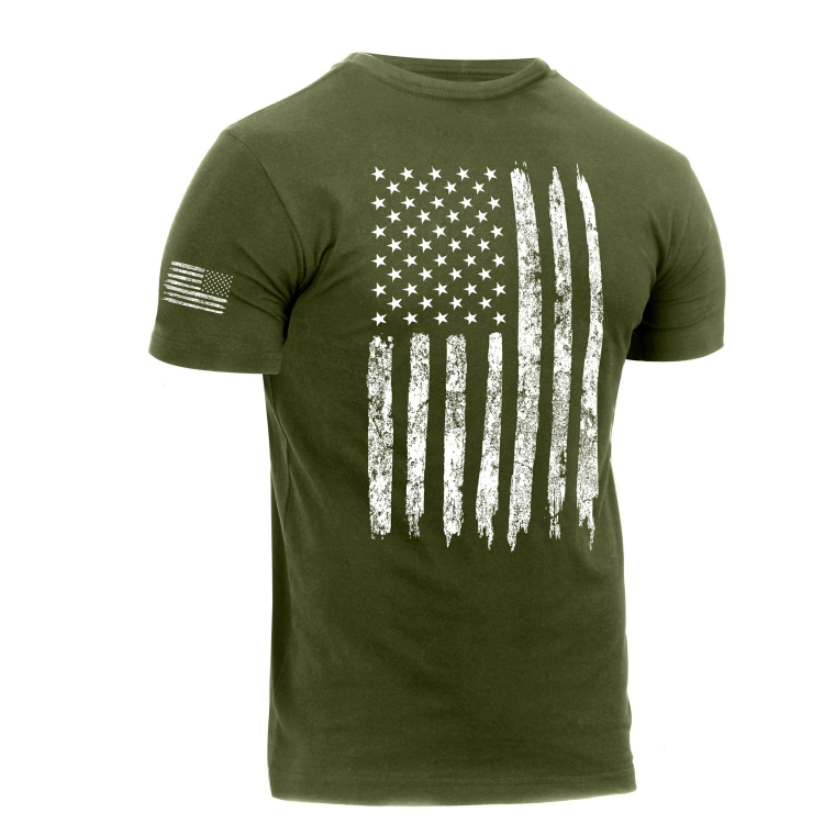 Tričko Distressed US Flag Athletic Fit, Rothco