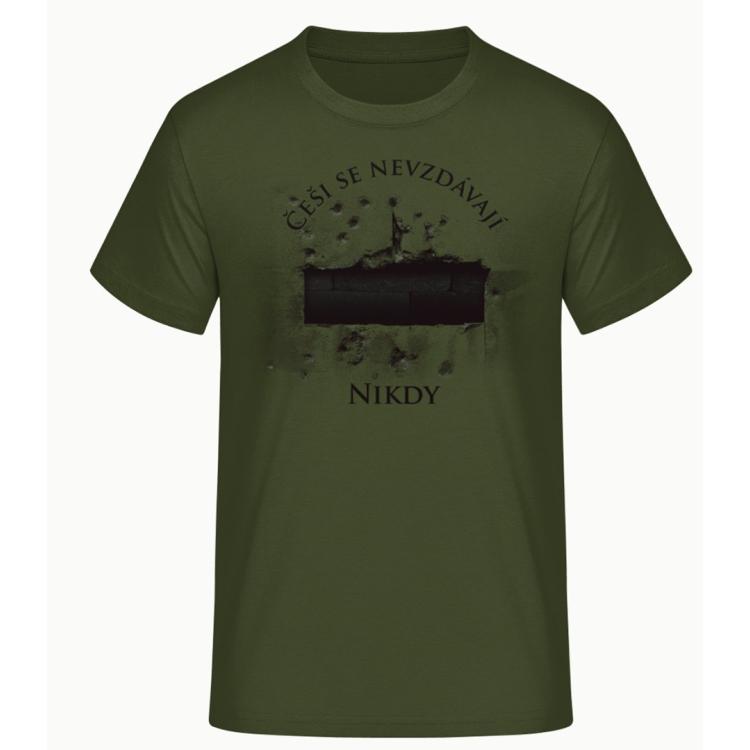 Pánské triko Češi se nevzdávají, zelené, Forces Design