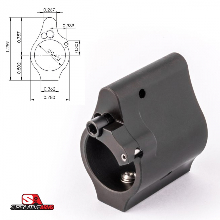 """Plynový násadec Faxon / Superlative Arms stavitelný, nízkoprofilový, .625"""""""