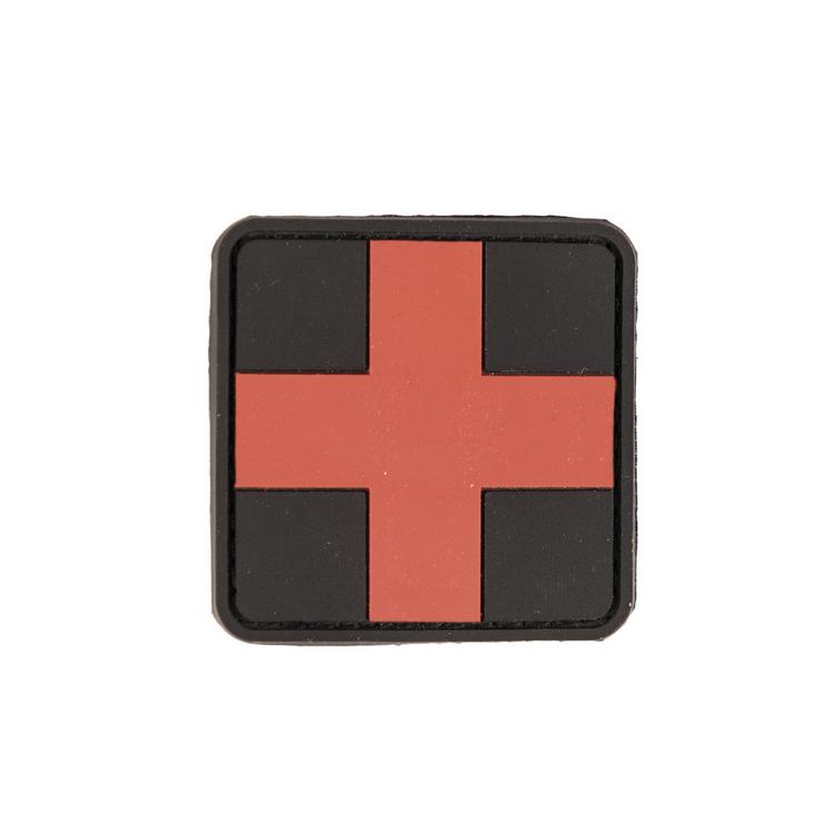 PVC nášivka - zdravotnický kříž, červeno-černý, 5x5 cm, Mil-Tec