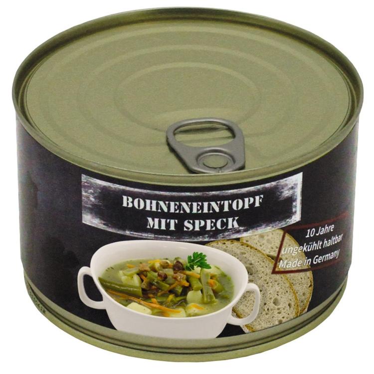 Vojenská konzerva - Dušené fazole se slaninou, 400 g, MFH