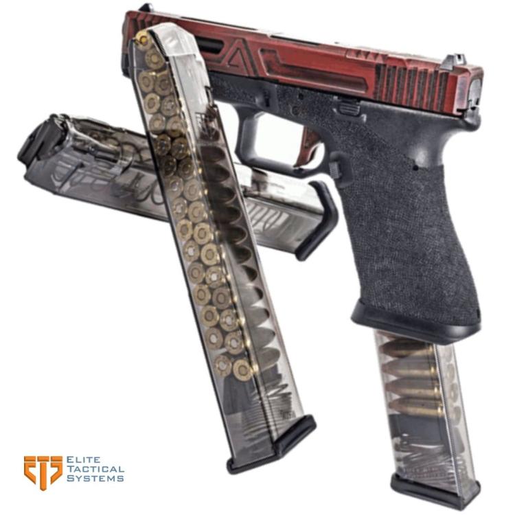 Zásobník ETS pro Glock 18 a menší, 9 mm Luger, oranžový, 31 nábojů