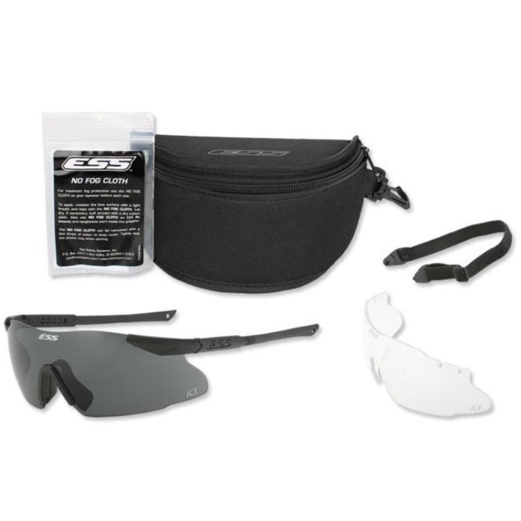 Balistické brýle ICE, černý rám, čirá + tmavá skla, ESS