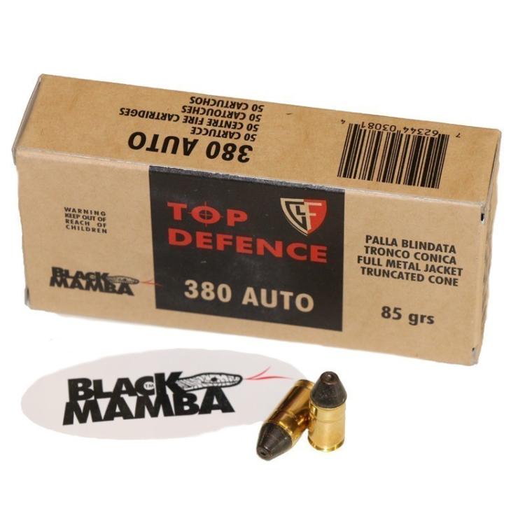 Náboj 9 mm Browning (.380 Auto) Fiocchi Black Mamba. 50ks
