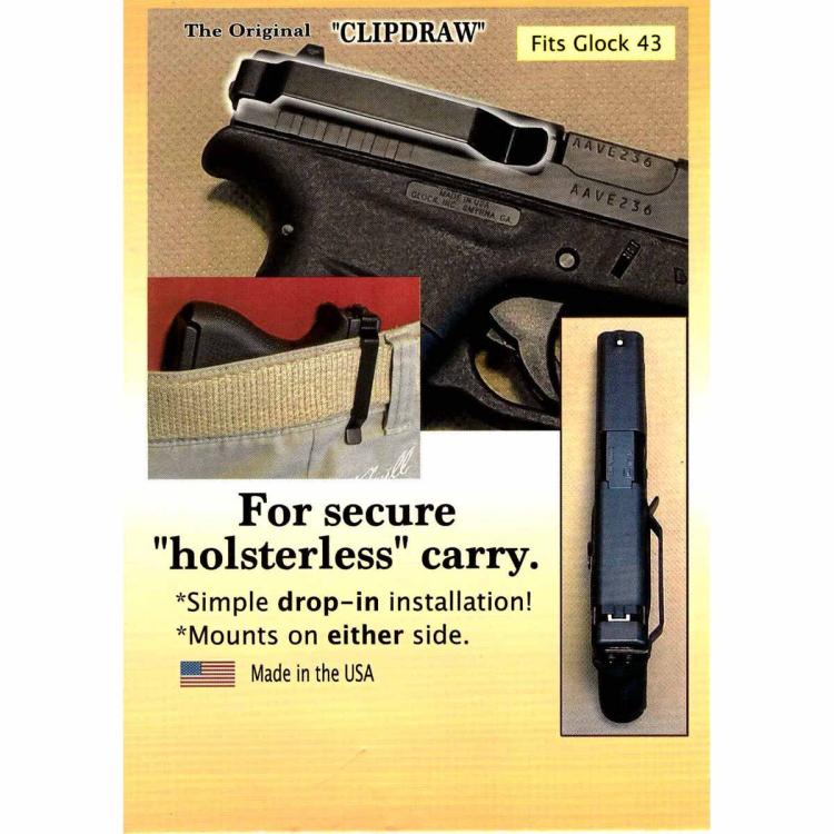 Clipdraw klip pro skryté nošení pistole Glock 43, 43X, 48