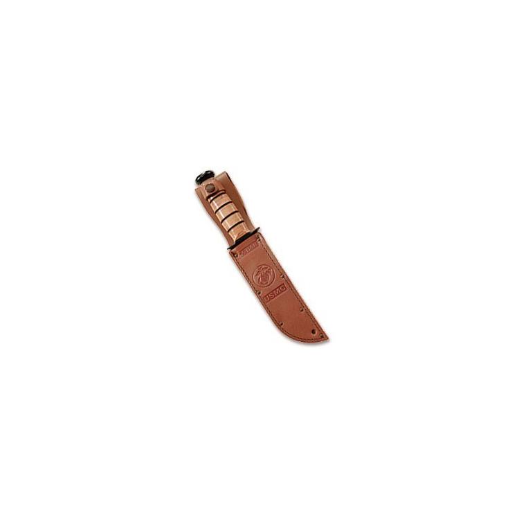 Vojenský nůž Ka-Bar USMC, kombinované ostří, kožené pouzdro - Vojenský nůž Ka-Bar USMC, kombinované ostří, kožené pouzdro