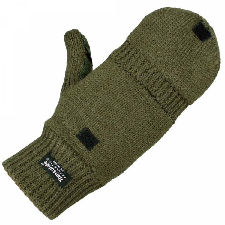 Pletené rukavice s překrytím, olivové, Mil-Tec - Pletené rukavice s překrytím, Mil-tec, Olivová