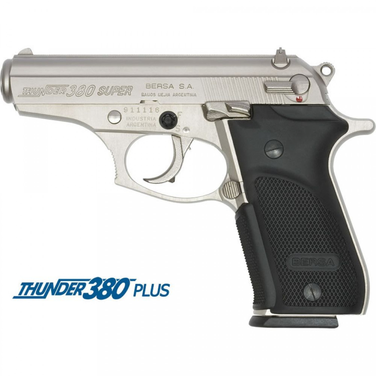 Pistole Bersa Thunder 380 Plus, ráže 9 mm Br., pryž. grip, nikl