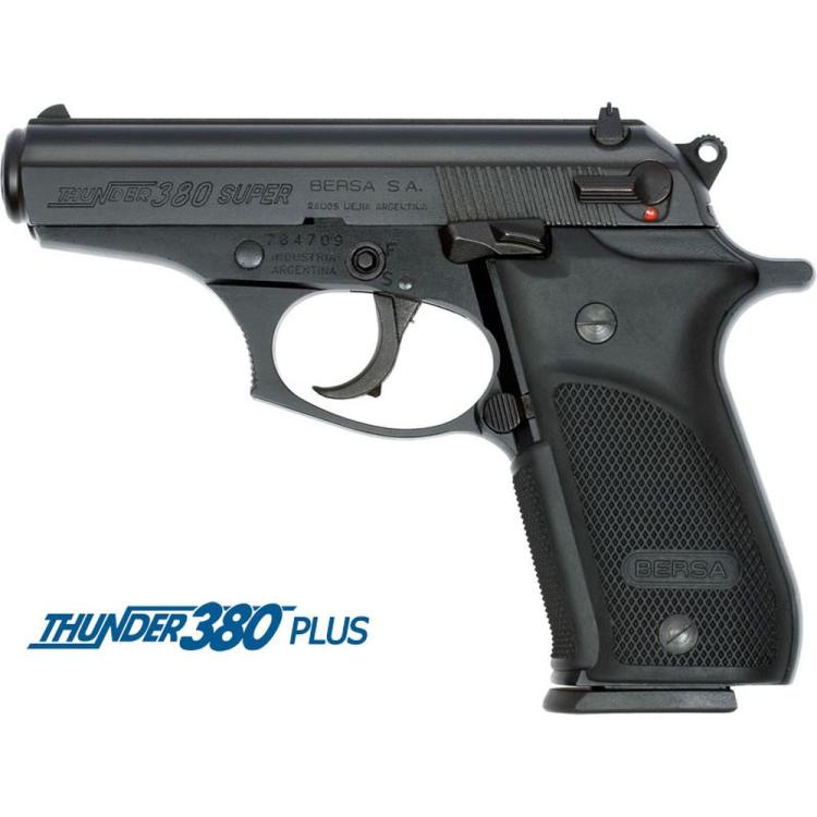 Pistole Bersa Thunder 380 Plus, ráže 9 mm Br., pryž. grip, černá