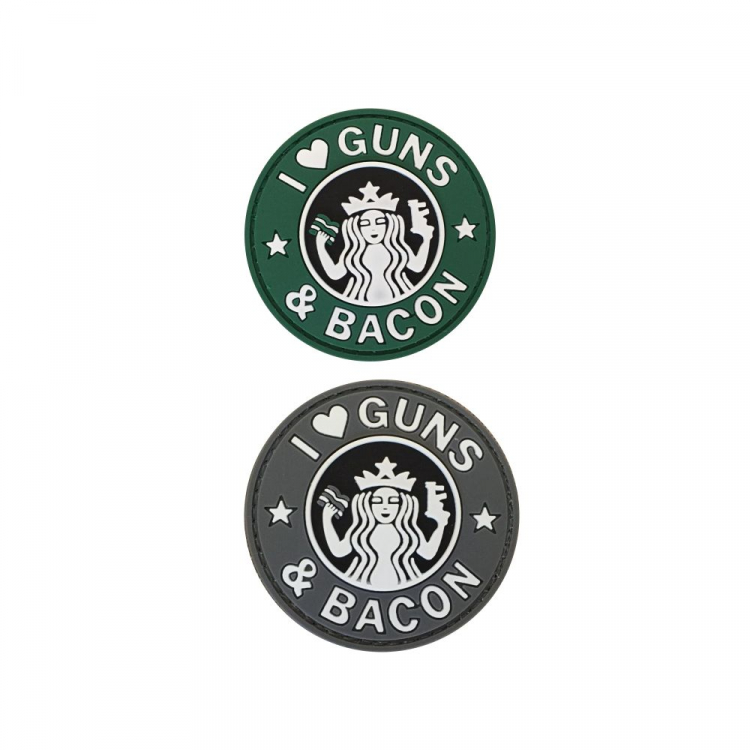 PVC nášivka I Love Guns and Bacon