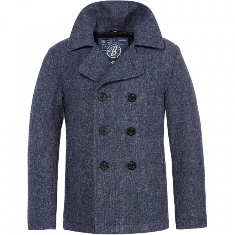 Pánský kabát Heringbone Brandit Pea Coat - Pánský kabát Heringbone Brandit Pea Coat