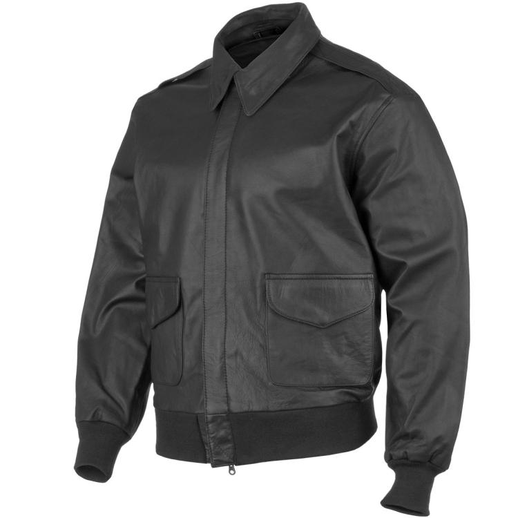 Kožená letecká bunda A2, černá, Mil-Tec